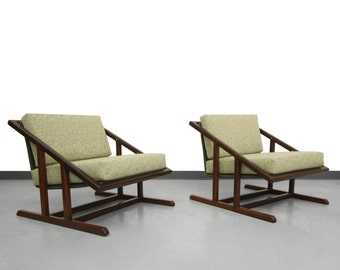 Pair of Mid Century Angular Solid Walnut Sling Chairs