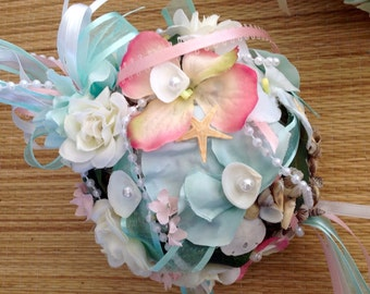 Beach Flower Girl Pomander Kissing Ball with Seashells Sea Netting Ribbons Pearls and Flowers