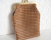 Vintage Pouch Nylon Macrame Mesh Faux Leather 1970s