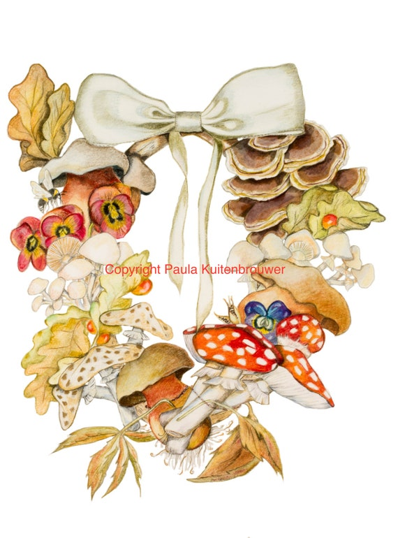 LIMITED EDITION Autumn Fall Garland, Autumn celebration, Mushroom Garland, Fall Garland, Garland with Toadstools, Fall Celebration Art Print