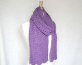 Lace Scarf, Alpaca Wool, Hand Knit, Orchid Purple, Long Knit Scarf, Luxury Natural Fiber, Wide Scarf