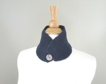 Button Neck Warmer, Small Luxury Scarf, Hand Knit in Baby Camel, Deep Blue, Collar Scarf
