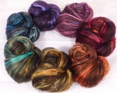 Fiber Batts -Rainbow Borealis  - (4.9 oz.) 33% Black Australian BOND fleece, merino, silk, bamboo, alpaca,corriedale, silk noil, angelina