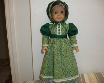 "American Girl Style 18"" Doll Frontier/Prairie 2 pc Green Flowered Print Dress and Hat"