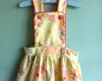 Girl's Retro dress- Handmade Pinafore using yellow floral Vintage fabric- Made to order, Sizes 1-2 up to 11-12. Made in England!