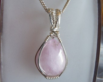 Kunzite and Sterlling Silver Wire wrapped pendant