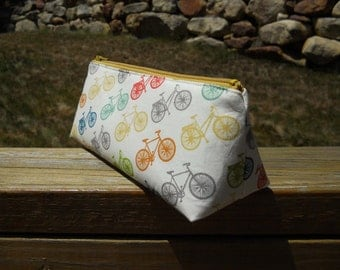 Pencil Case, Bicycles, Organic Cotton Pencil Pouch, Organic Cotton Bag, Organic Collection, One of a Kind