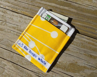 Card Sleeve, Minimalist Wallet, Yellow and White Wallet, Yellow Canvas Wallet, One of a Kind