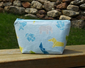 Extra Small Makeup Bag, Origami Animals, Trinket Bag, Cosmetic Pouch, One of a Kind
