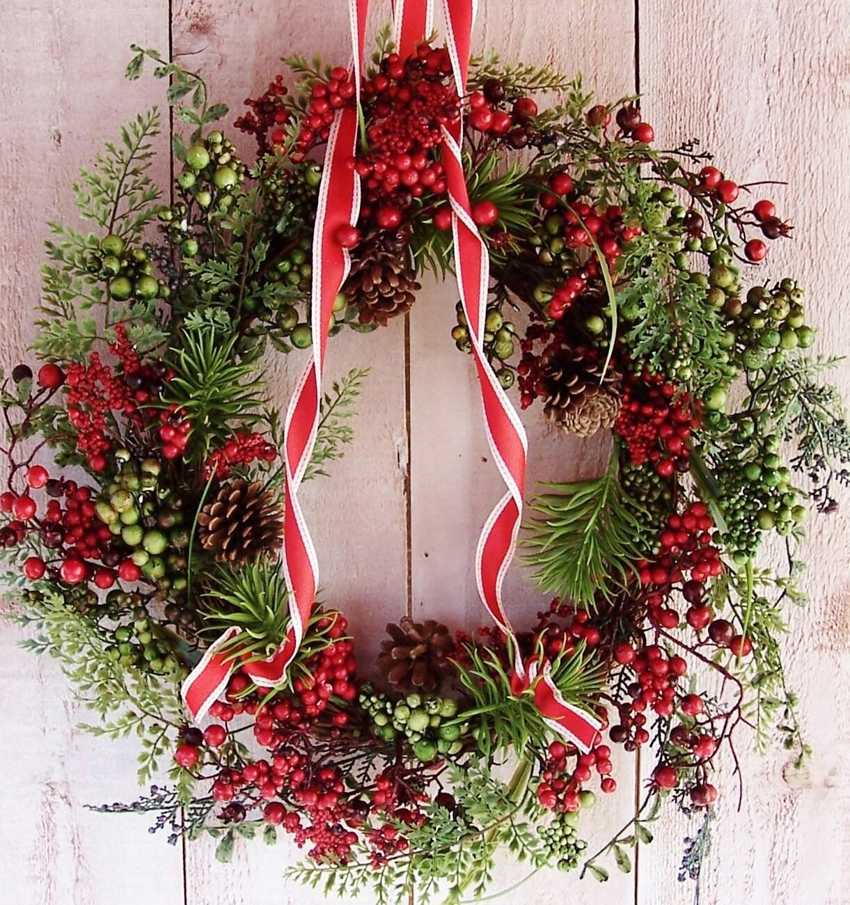 Christmas wreath front door wreath winter wreath christmas for Front door xmas wreaths