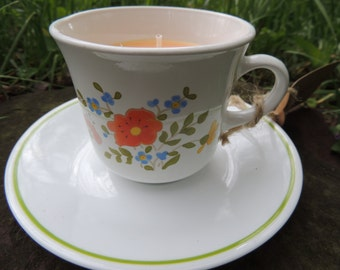 Juicy Peach Teacup Candle and Saucer