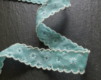 25mm Turquoise Blue Daisy Print with Ivory Lace Edge Trim