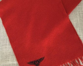 Vintage Cashmere Wool Blend Scarf Made in Scotland Burnt Orange