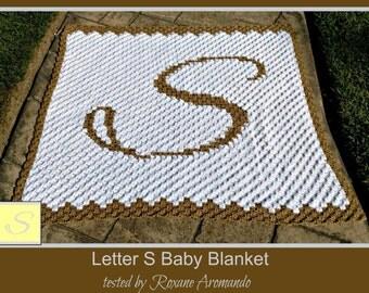 C2C Graph, Letter S, Baby Blanket, C2C Graph, & Written Word Chart, Monogrammed Baby Blanket, C2C Baby