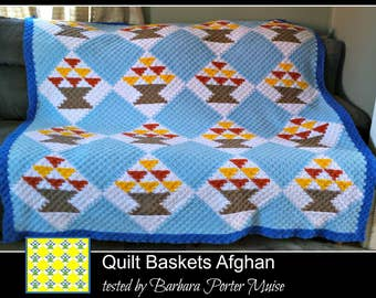 C2C Graph, Quilt Baskets Afghan, Queen Size, C2C Graph, with Written Word Chart, Quilt Graph, Quilt C2C