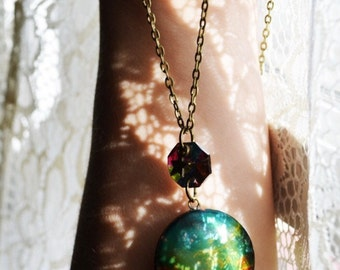 NEBULA a bronze cosmic space photograph locket necklace