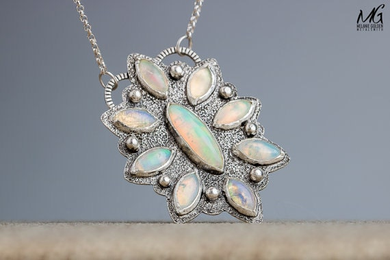 Ethiopian Opal cluster necklace by MGMetal on Etsy