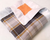 Gray & Orange Plaid Double Sided Flannel Blanket w/ Satin Binding
