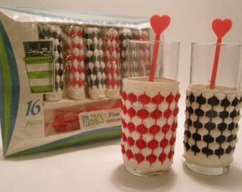 Mid Century 1950's Hi-Jacs Cozies (Coasters) and Swizzle Sticks Party Set, Black and Red Check Knit Material, Original Box, UNIQUE SET 16 Pc