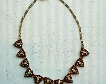 Vintage 1950s Fleurs de Lis Enamel Necklace Pearls Articulated Adjustable Gold