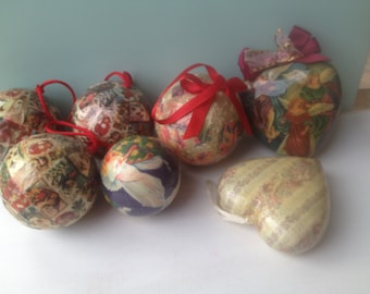 Mixed Lot Vintage Paper Mache Christmas Ornaments, Vintage Christmas Home Decor-Ornaments