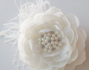 Ivory Wedding, Fascinator, Bridal Flower, Hair Accessories, Wedding Hair Clip, Chiffon Flower, Bridesmaid, Feather, Hair Piece, Hair Flower