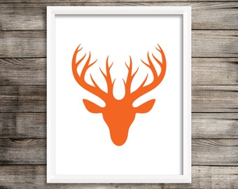 Woodlands Art Print.  Deer Buck Art Print.  Digital Download