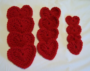 Applique Hearts, Valentine's Hearts, Heart Appliques, Supplies, Crochet Hearts, Embellishments