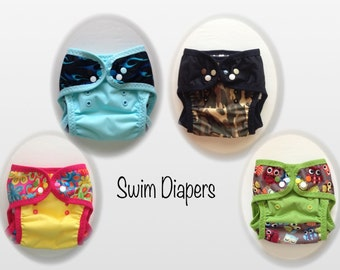 Swim Diapers - reusable with leg gussets, FOE and colorful snaps (M-L).  Ready to ship today!!