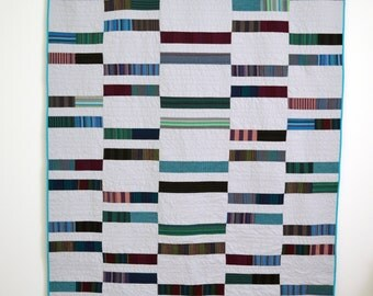 Grey Quilt, Modern Grey Quilt, Twin Quilt, Masculine Quilt, Grey and Blue Quilt, Stripe Quilt