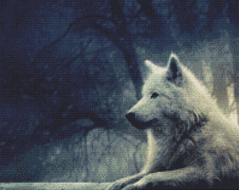 Staring White Wolf Cross Stitch Pattern Animal Series Design Instant Download PdF