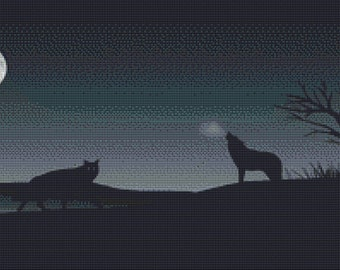 Cold Howling Wolves Cross Stitch Pattern Animal Series Design Instant Download PdF