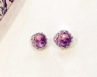 Swarovski pink crystal stud earrings