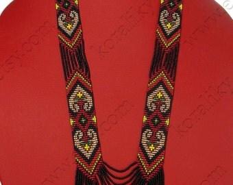 Traditional Ukrainian Folk Handmade Glass Beaded NECKLACE Long Gerdan: Multicolor