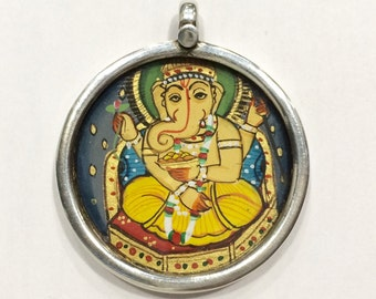 925 Sterling Silver pendant with handmade painting of Hindu GOD Ganesha