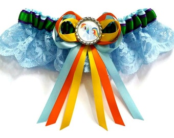 My little Pony Rainbow Dash satin/satin and lace/Garter set