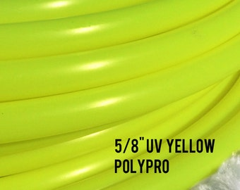 """UV Yellow 5/8"""" Polypro Dance & Exercise Hula Hoop COLLAPSIBLE push button or minis - ultraviolet glows in black light"""