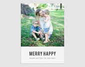 Merry Happy  |  Minimal typographic holiday photo card, vertical with square image