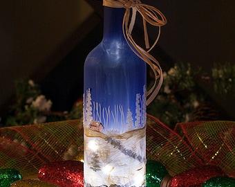 Hand Painted Lighted Wine Bottle, Winter Snow Scene Winter Decor, Diamond Glitter, Christmas Decor, Gifts for Women, Hostess Gift