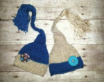 Twin newborn hats, baby beanies, twin photo prop, twin hat set, matching twin hats, newborn twin session, blue beanie, tan knitted beanie
