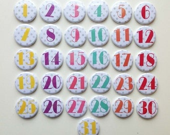 Monthly Calendar Magnets - bright colourful numbers 1-31