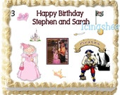 Princess and Pirates birthday cake topper cake icing transfer edible image sheet frosting icing sugar party