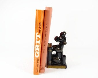 Retro Poodle Pen Holder & Bookend / Redware Pottery Poodle / Office Desk Accessory / 1950s Black Poodle Figurine / Mid Century Bookend