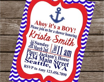 AHOY IT'S A BOY Birthday Party or Baby Shower Invitations Set of 12 {1 Dozen} - Party Packs Available