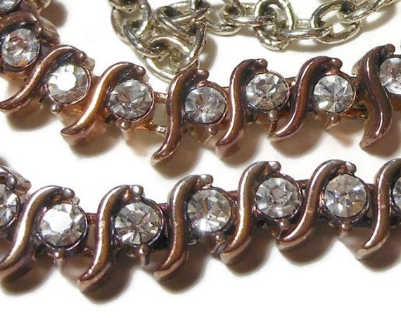 Napier rhinestone choker necklace, 1990s mixed metal, copper gold over silver links, silver chain and extender, choker or necklace, with tag