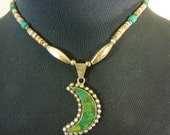 VINTAGE INDIAN ONYX Handmade  heishi Mexican  Sterling  necklace