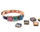 Men's leather bracelet - circuit board beads - unisex bracelet - men's bracelet - customizable bracelet