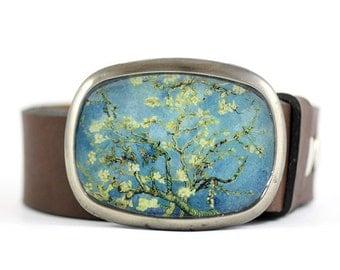 Van Gogh Belt Buckle, Blossoming Almond Tree, Floral Belt Buckle, Wearable Art