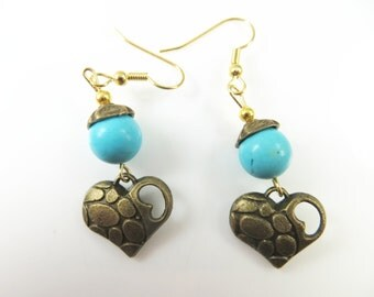 Clearance - Turquoise heart earrings