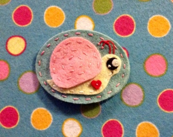 Kawaii snail wool Felt no slip  hair clip